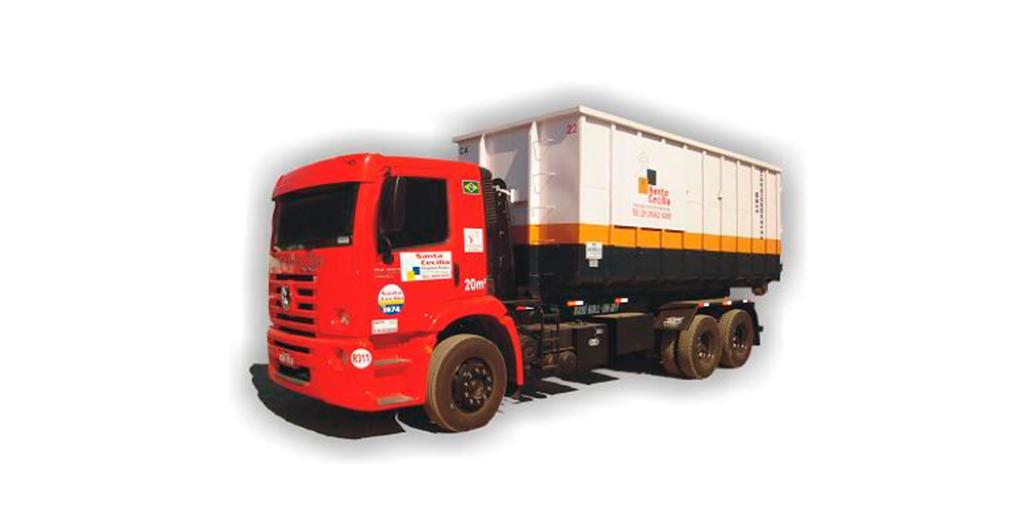 Aluguel de caminhões para coleta e transporte de resíduos caçamba 35 ms.