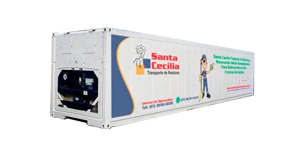 Container refrigerado para coleta e transporte de resíduos.